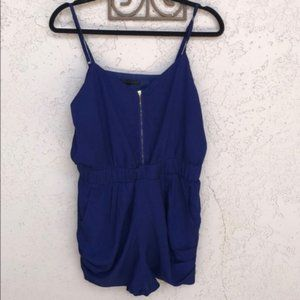 Lucca Couture Front Zipper Royal Blue Romper